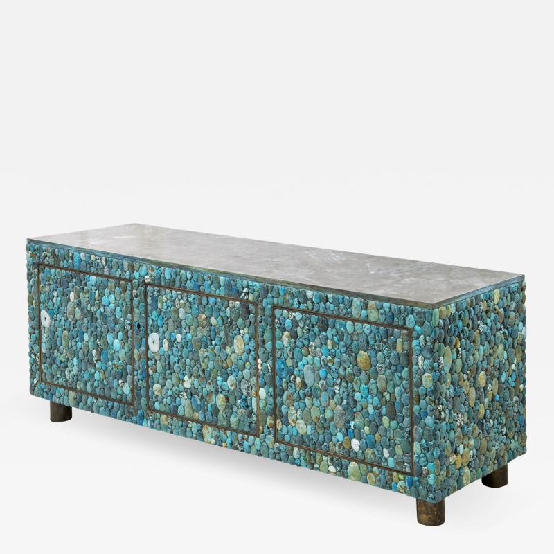KAM TIN Turquoise and labradorite sideboard by KAM TIN