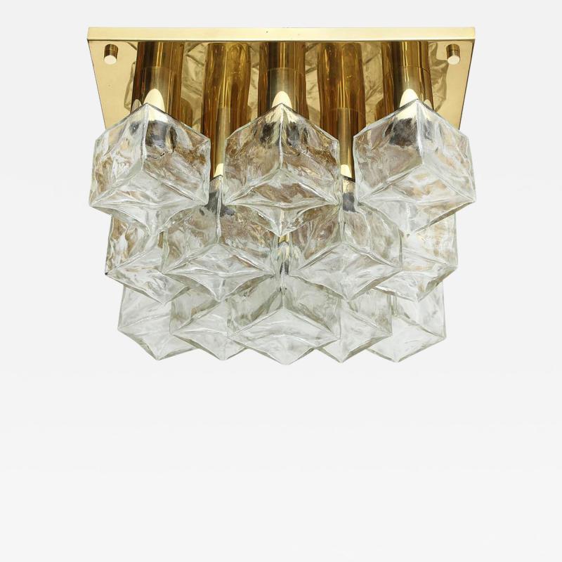 Kalmar Franken KG Kalmar Brass and Glass Ice Cube Flush Mount