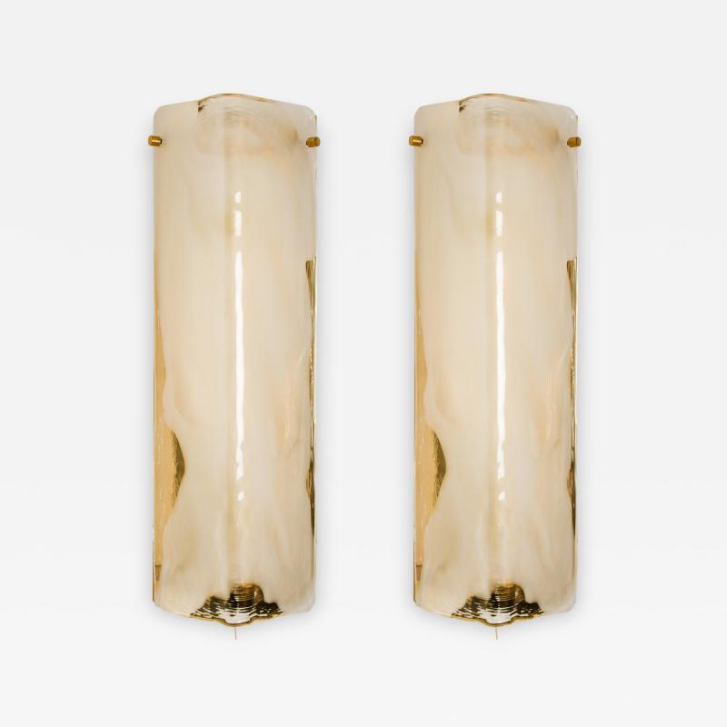 Kalmar Franken KG Pair of Brass and Bras Handblown Murano Glass Wall Lights by J T Kalmar 1960s