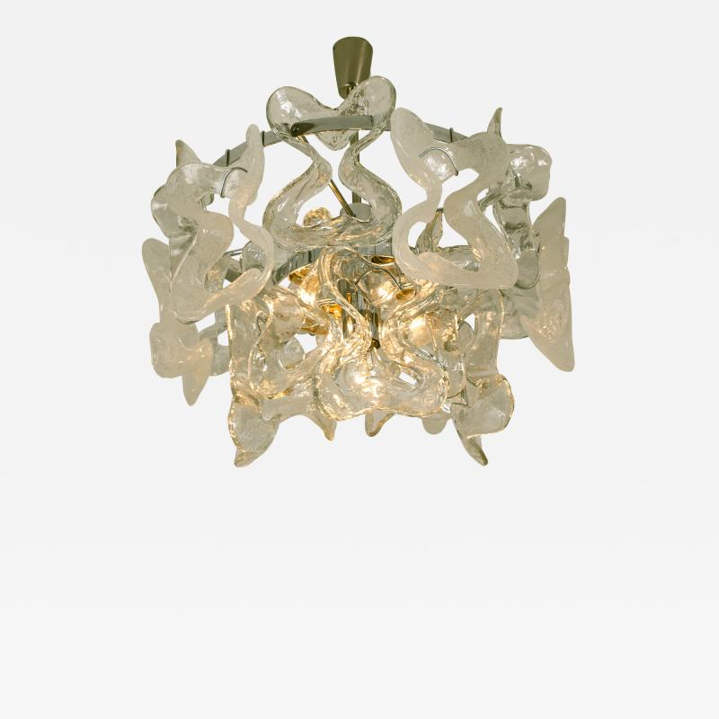 Kalmar Lighting Kalmar Catena Murano Glass Chrome Chandelier 1970s
