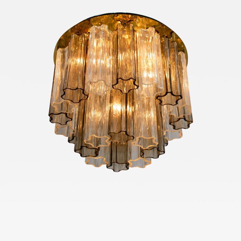 Kalmar Lighting Rare J T Kalmar Pagoda Chandelier in Blown Glass and Brass 1960