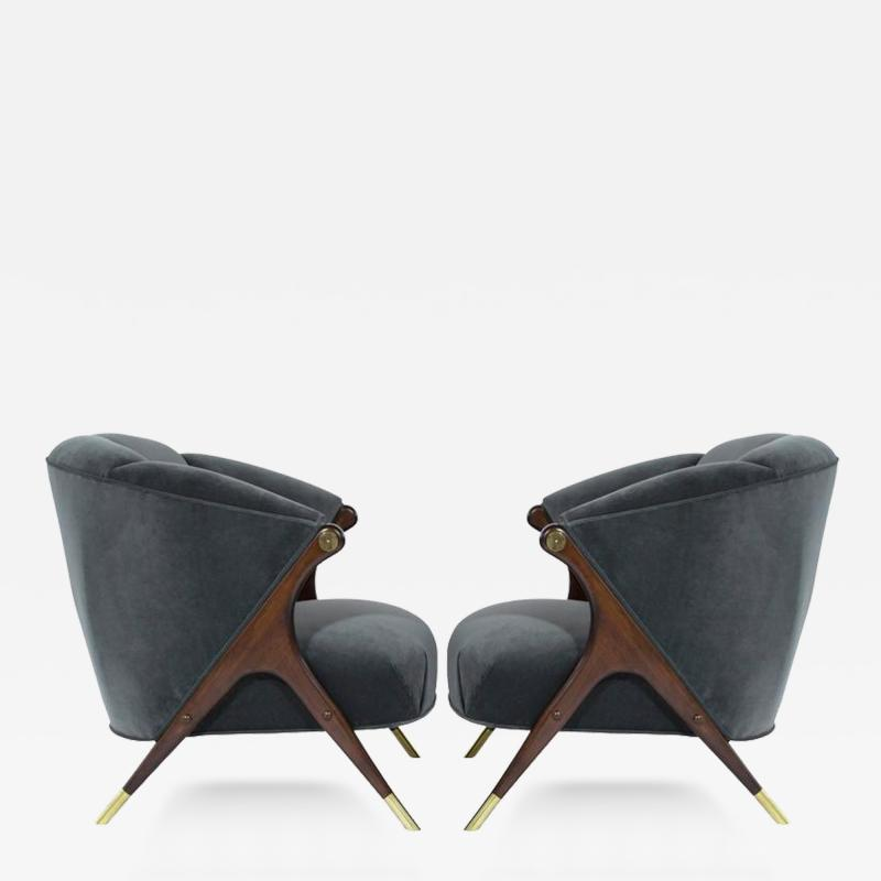 Karpen of California Modernist Karpen Lounge Chairs in Granite Velvet