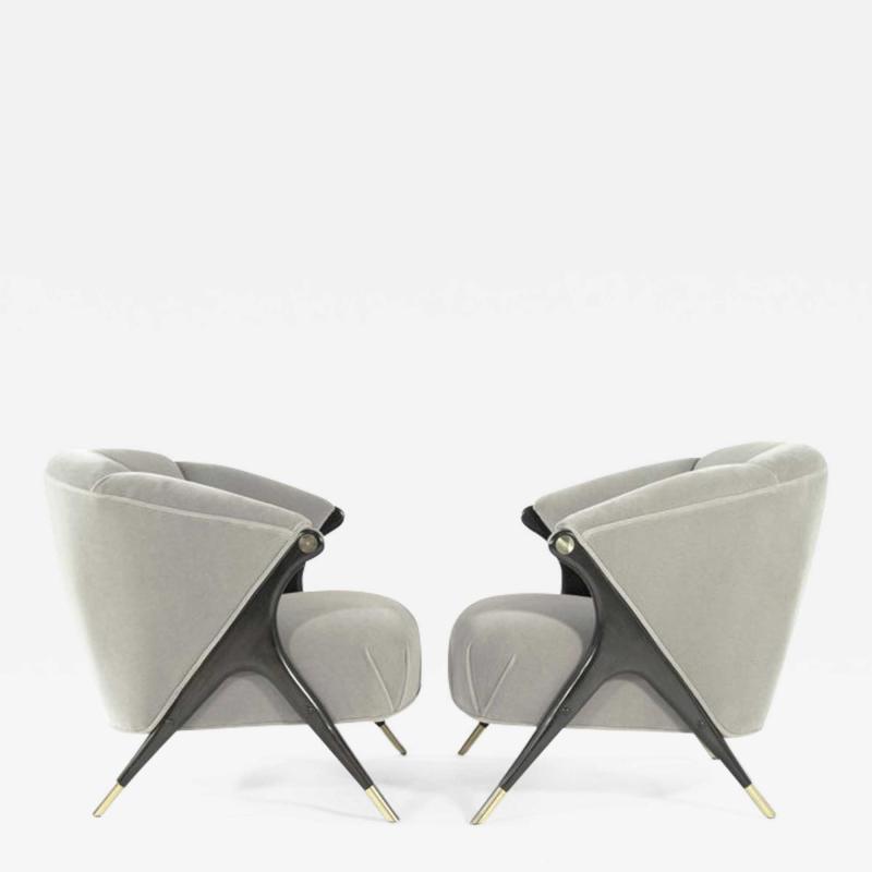 Karpen of California Modernist Karpen Lounge Chairs in Grey Alpaca Velvet 1950s