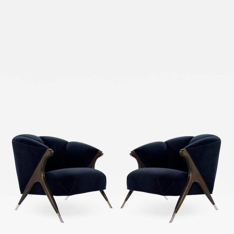 Karpen of California Modernist Karpen Lounge Chairs in Navy Velvet 1950s