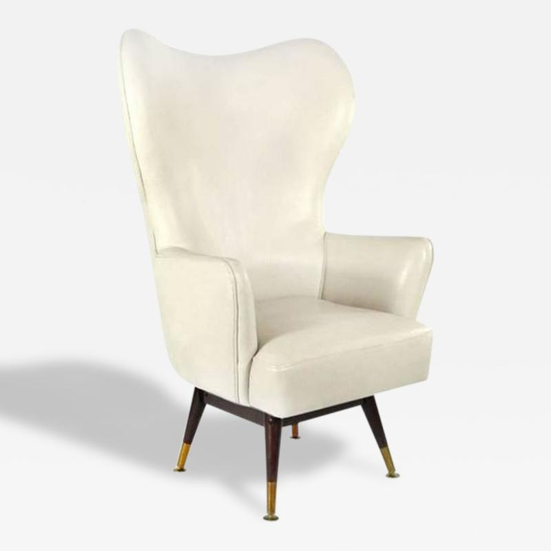 Karpen of California Modernist Swivel Wingback Chair by Karpen of California