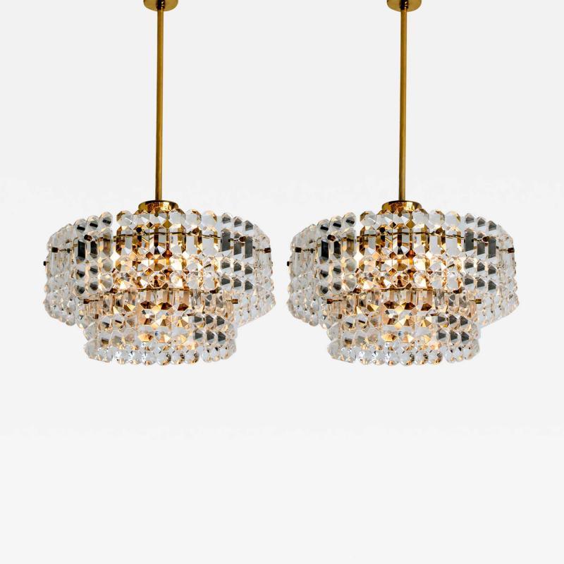 Kinkeldey Pair Of Gold plated Kinkeldey Crystal Glass Chandeliers 1960s