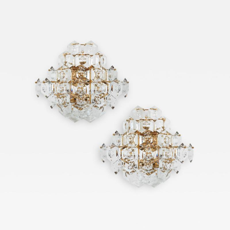 Kinkeldey Pair of Substantial Gold Plate Sconces with Large Geometric Crystals