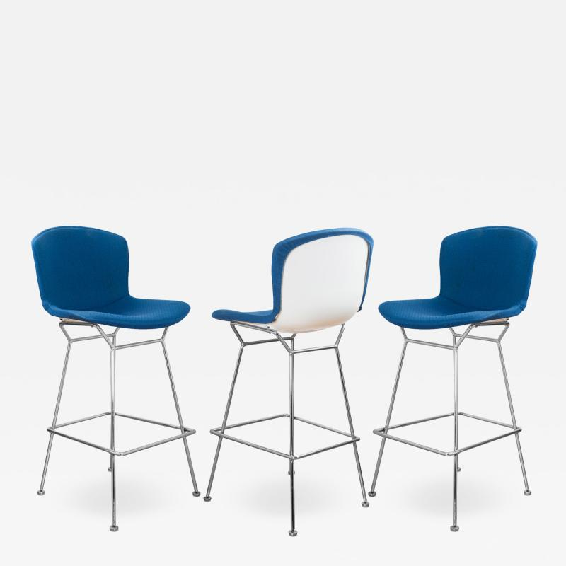 Knoll Bertoia Upholstered Barstools in Fiberglass KnollTextiles Fabric Set of 3