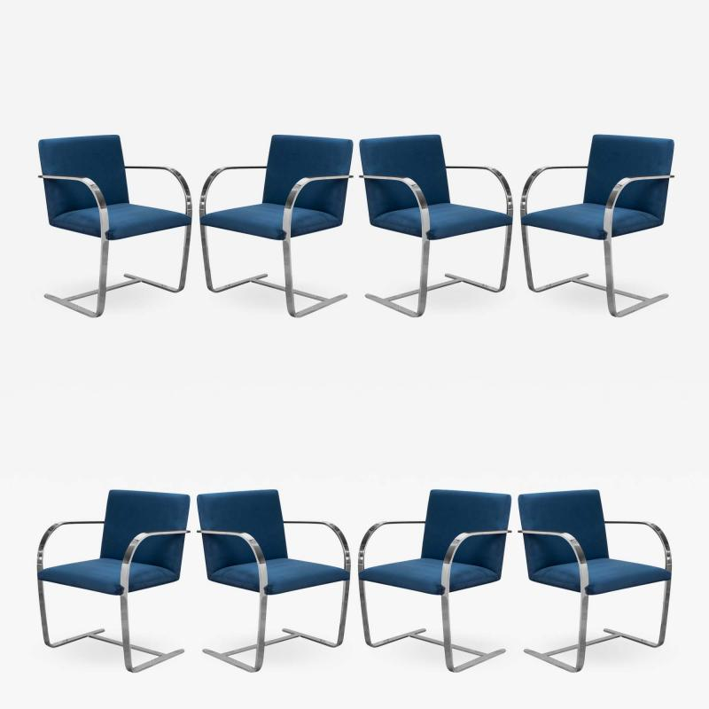 Knoll Brno Flat Bar Chairs in Navy Ultrasuede by Mies van der Rohe for Knoll Set of 8