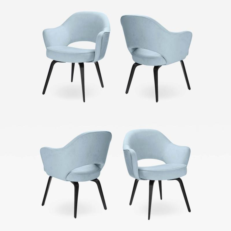 Knoll Knoll Saarinen Executive Arm Chairs in Ultrasuede Walnut Legs Set of 4