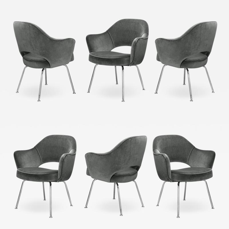 Knoll Saarinen Executive Arm Chairs in Graphite Velvet for Knoll Set of 6