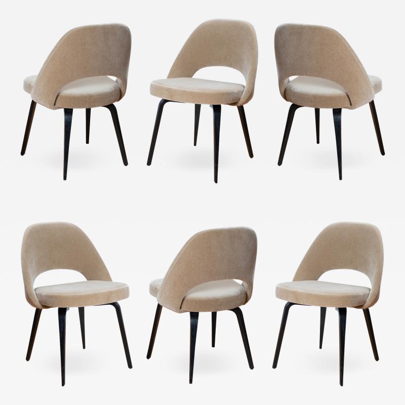 Knoll Saarinen Executive Armless Chairs in Mohair Walnut by Eero Saarinen for Knoll