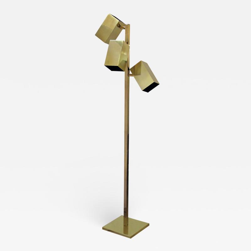 Koch Lowy A Sleek American Koch and Lowy 3 Light Brass Floor Lamp