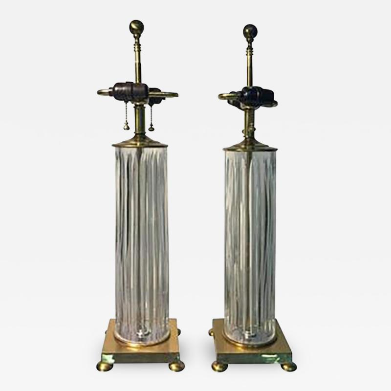 Koch Lowy Elegant Pair of Fluted Glass Table Lamps by Koch Lowy circa 1970