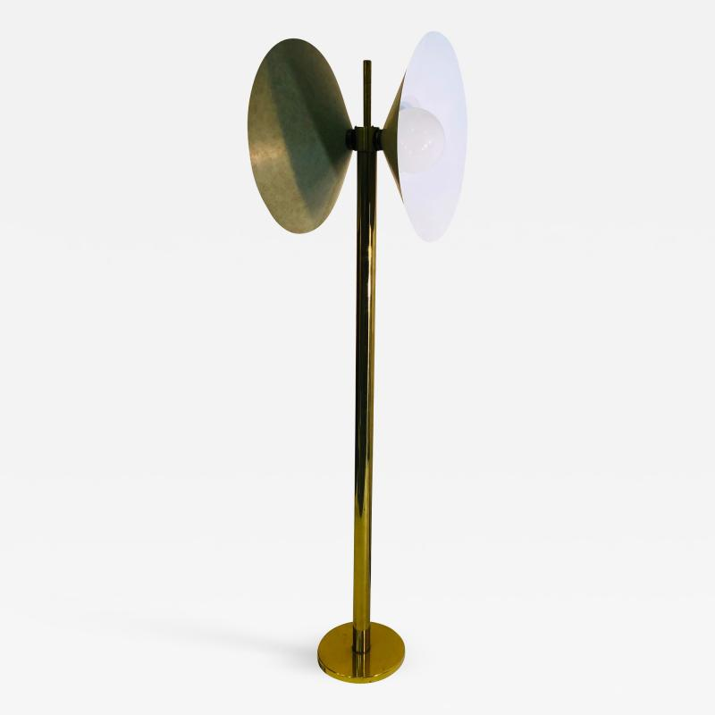Koch Lowy Exceptional Brass Floor Lamp with Unusual Design by Koch and Lowy