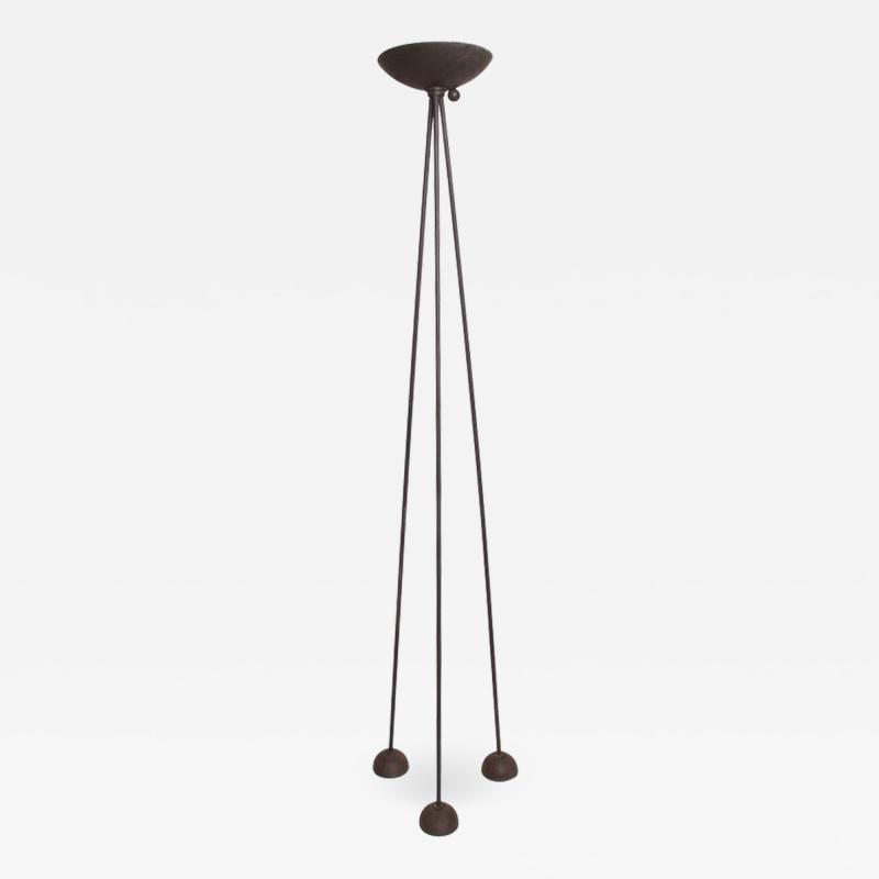 Koch Lowy Modern Memphis Sleek Steel Torchiere Tripod Floor Lamp by Koch Lowy 1980s