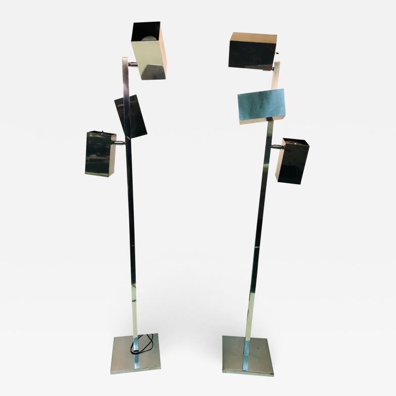 Koch Lowy Pair of Koch Lowy Modernist Polished Chrome Floor Lamps