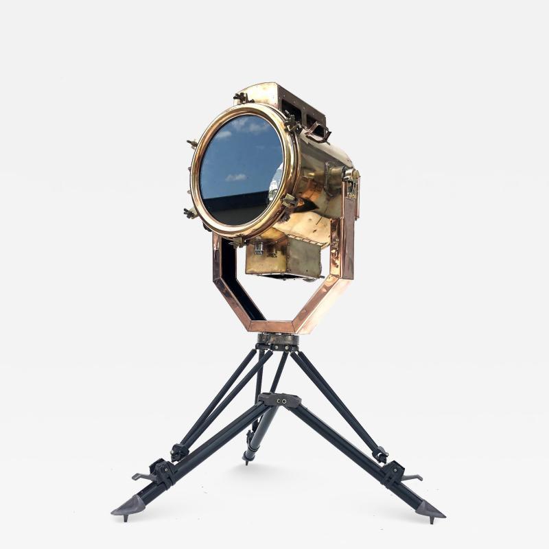 Koito Ltd Copper Brass 1980s Koito Searchlight on British MOD Tripod