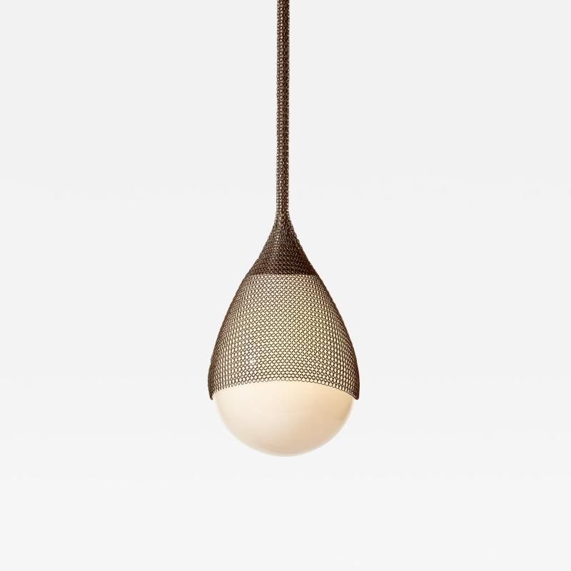 Konekt Armor Pendant Light in Oil Rubbed Bronze with Hand Blown Glass and Chainmail