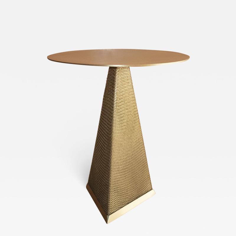 Konekt Armor Triangle Side Table in Satin Brass