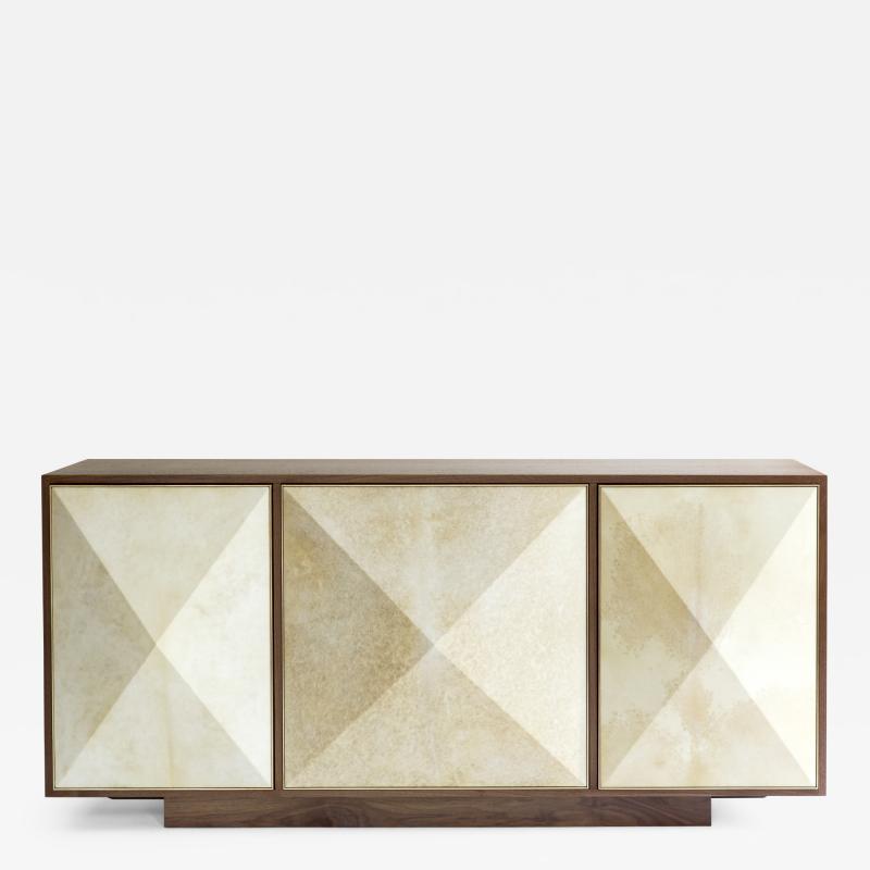Konekt Pyramid Sideboard with Walnut Parchment and Brass by Konekt