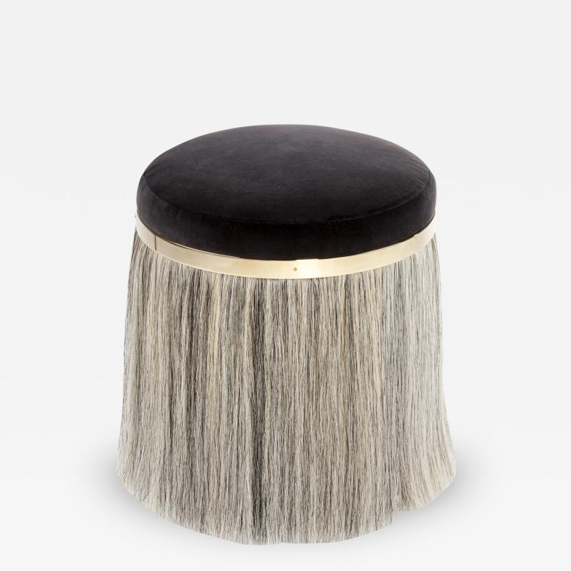 Konekt Thing 1 Horse Hair Brass and Velvet Stool or Pouf