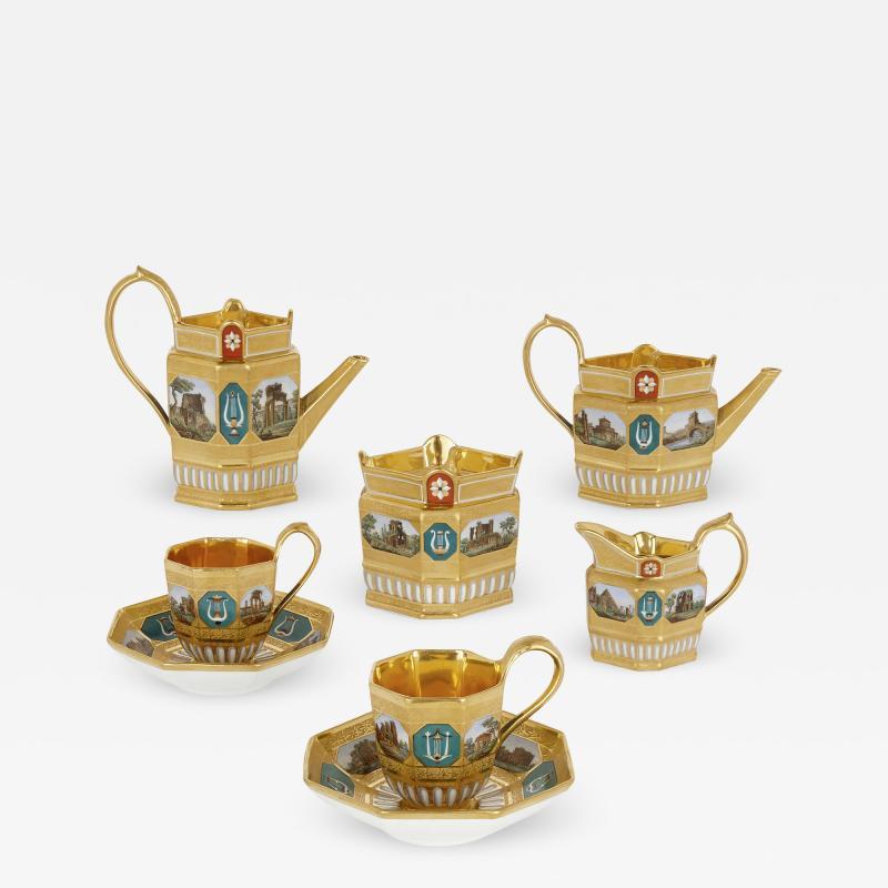 Konigliche Porzellan Manufaktur KPM Antique KPM Porcelain Neoclassical and Egyptian Revival Style Six Piece Tea Set