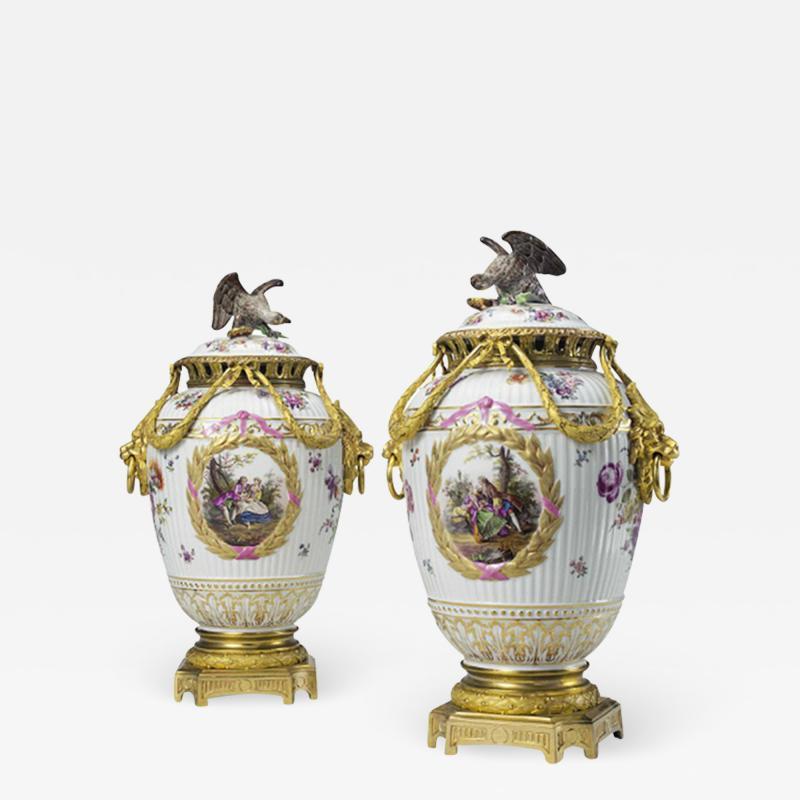 Konigliche Porzellan Manufaktur KPM Gilt Bronze Mounted Painted Porcelain Vases and Eagle Finial Covers by K P M