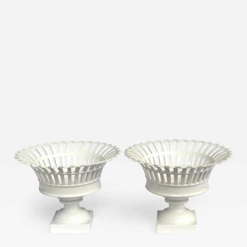 Konigliche Porzellan Manufaktur KPM Good Pair of German KPM White glazed Pierced Lattice Porcelain Compotes