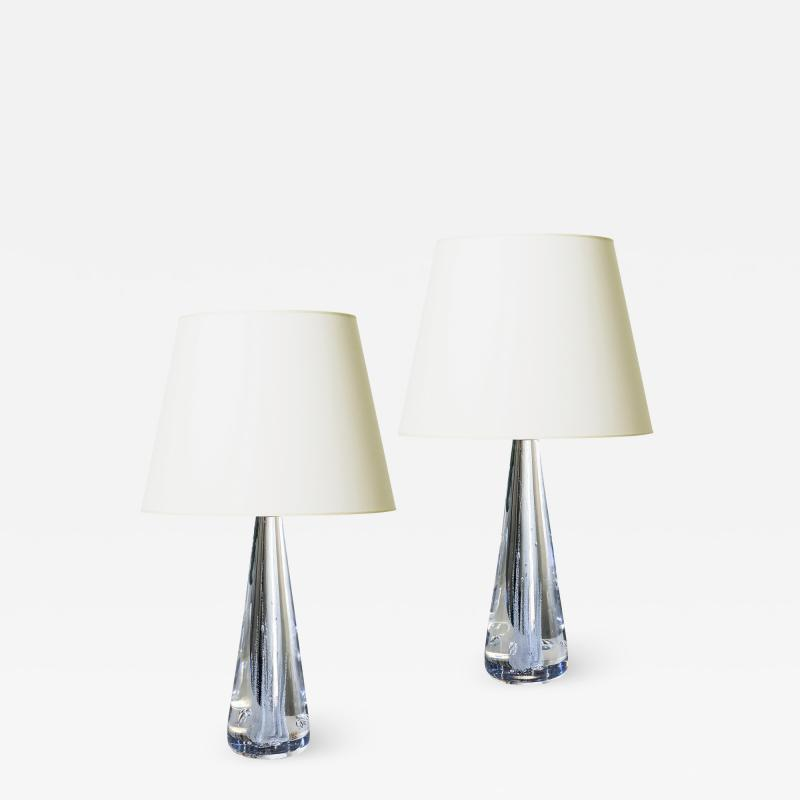 Kosta Boda AB Pair of Lamps in Crystal with Bubble Foliage by Vicke Lindstrand