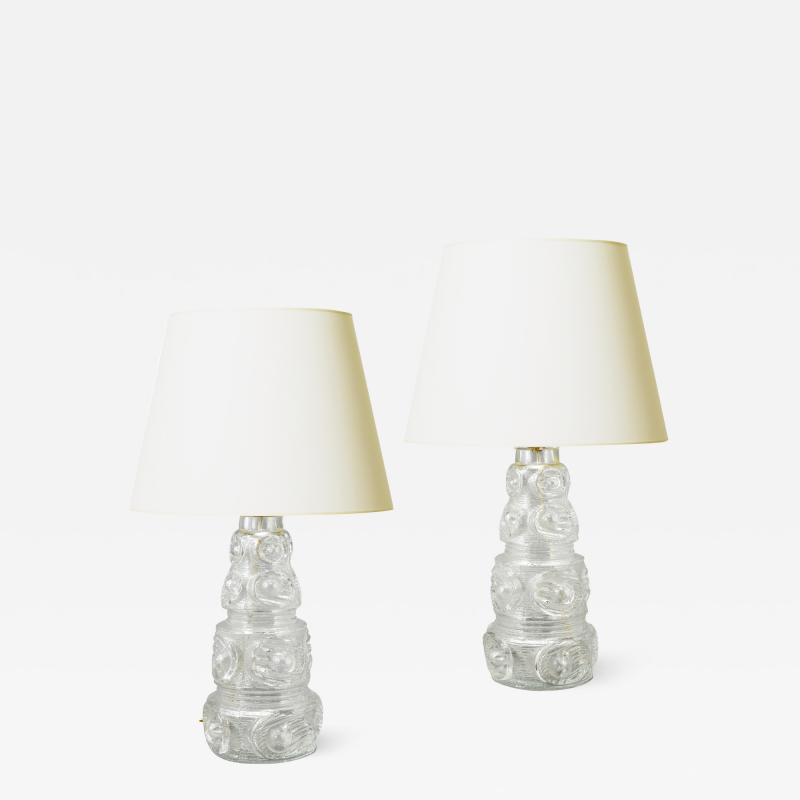 Kosta Boda AB Pair of Mod Lamps with Tiered Glass Bases Attributed to Kosta