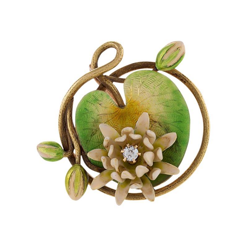 Krementz Co Art Nouveau Enamel Diamond and Gold Lily Pad Brooch
