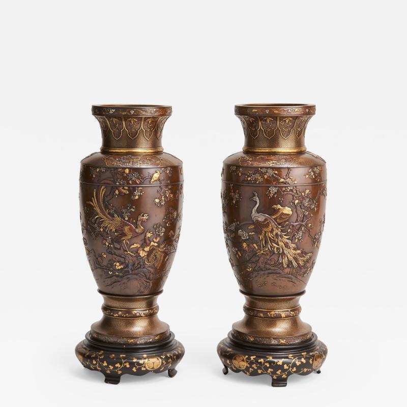 Kumagaya A pair of antique Japanese multi metal Bronze vases by Kumagaya