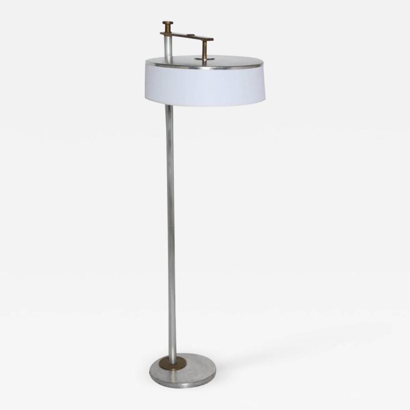 Kurt Versen Kurt Versen Brushed Aluminum Brass Flip Top Floor Lamp with White Shade 1930s