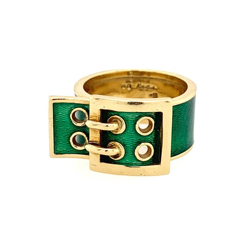 Kutchinsky Kutchinsky Gold and Green Enamel Belt Buckle Ring