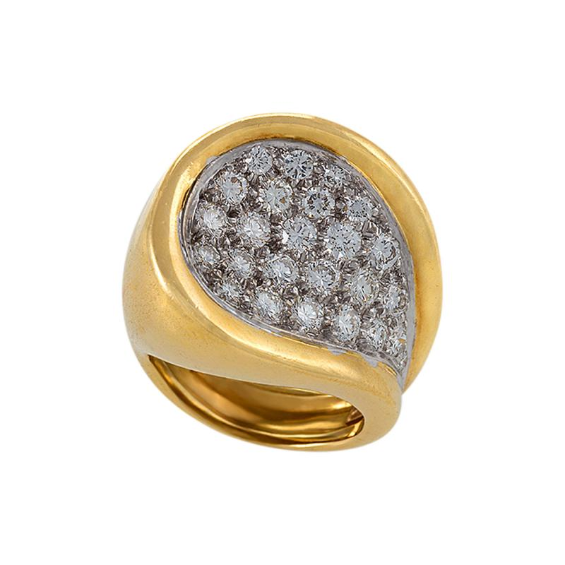 Kutchinsky Kutchinsky Mid 20th Century Diamond Gold and Platinum Ring