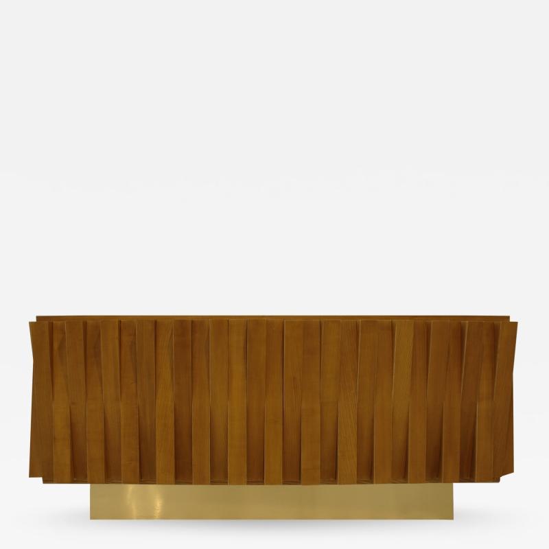 L A Studio L A Studio Faceted Oak Wood And Brass Italian Sideboard