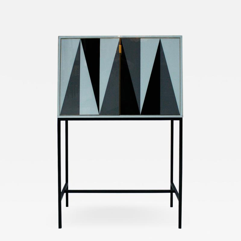 L A Studio L A Studio Modern Solid Wood and Colored Glass Italian Cabinet