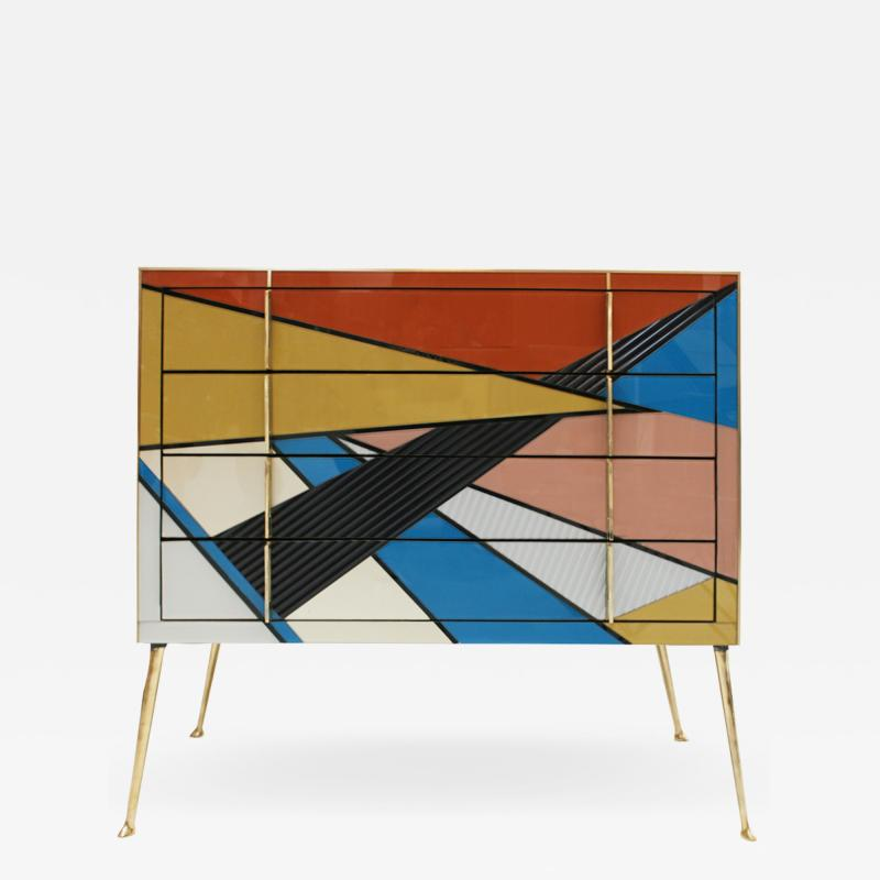 L A Studio Mid Century Modern Style Murano Colored Glass and Brass Italian Commode