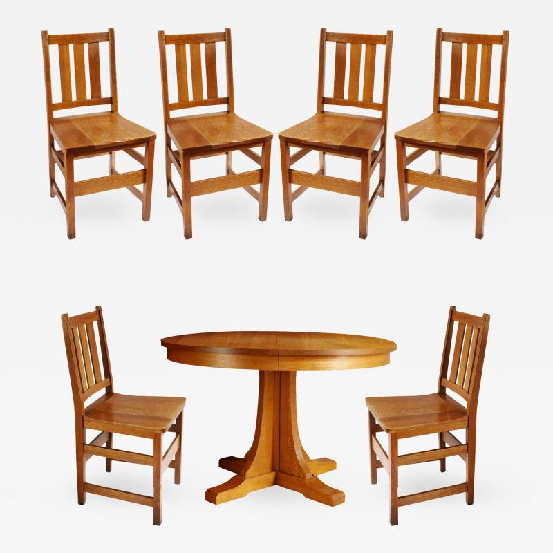 L J G Stickley Inc Andy Warhols Six Stickley Dining Chairs from the Factory and Extending Table