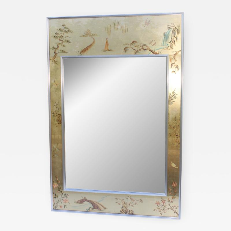 La Barge La Barge Mid Century Modern Hand Painted Chinoiserie Mirror