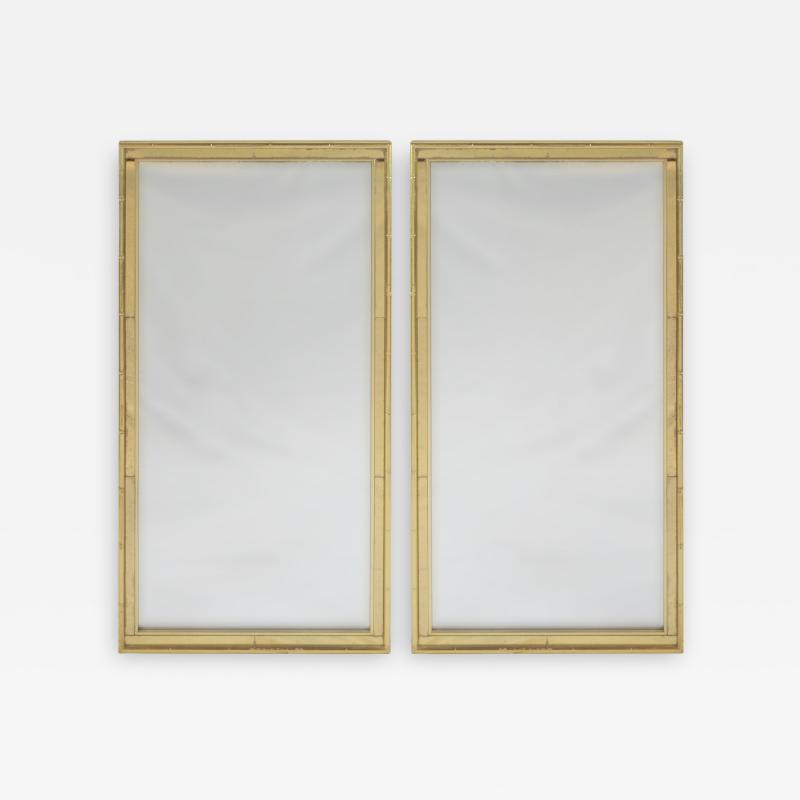 La Barge Pair of Faux Bamboo Gilt and Mirrored Frame Mirrors