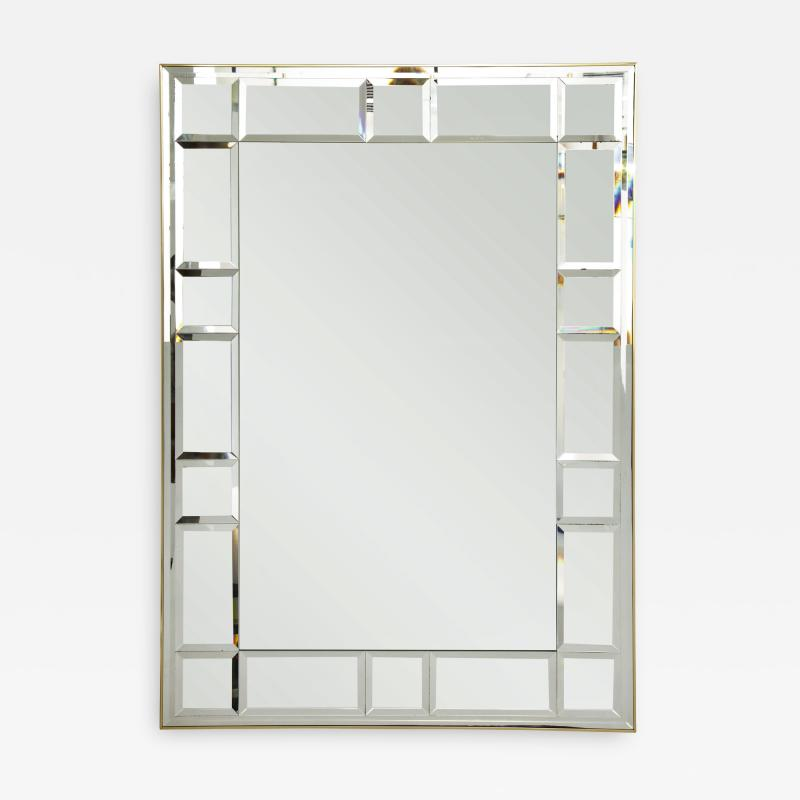 La Barge Polished Brass and Scored Mirror