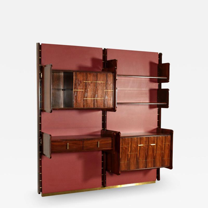 La Permanente Mobili Cant Bookcase La Permanente Mobili Cant Rosewood Brass Leatherette 1950s