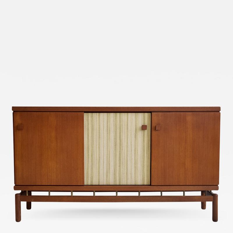 La Permanente Mobili Cant Teak Sideboard with Fabric and Brass Details by Ilmari Tapiovaara