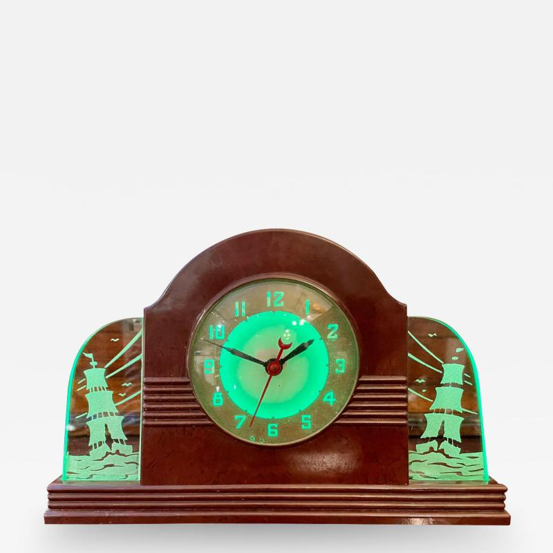 Lackner Neon Glo Lackner Neon Glo Art Deco Marbled Brown Catalin Glass Bakelite Clock
