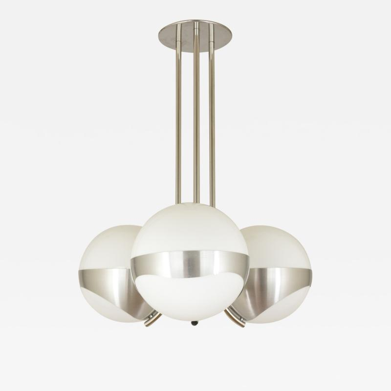 Lamperti Chandelier by Lamperti Associates in Metal and Glass Italy 1970s