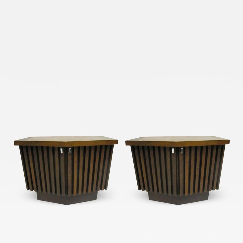 Lane Furniture Handsome Pair Of Ribbed Front Plinth Base Lane Night Stands Mid century Modern