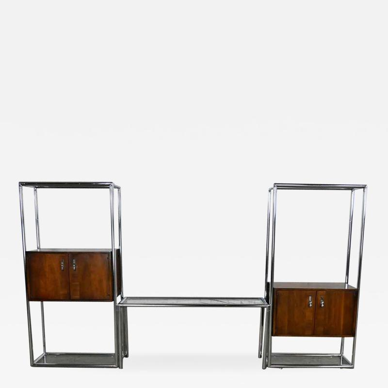 Lane Furniture MCM chrome walnut veneer entertainment display cabinet or room divider