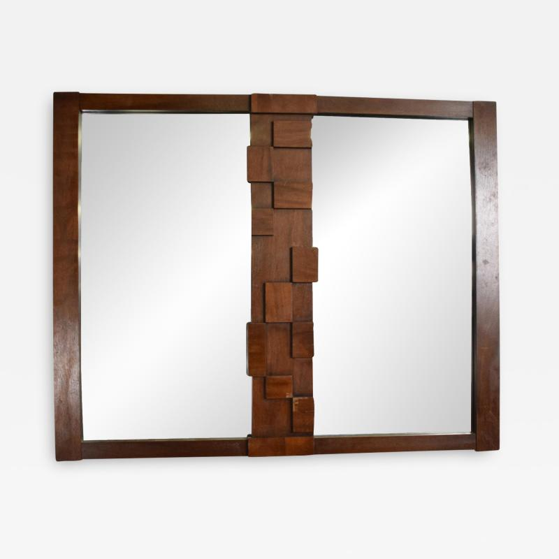 Lane Furniture Mid Century Modernist Brutalist Walnut Mirror by LANE
